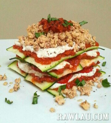 raw lasagna with zucchini noodles
