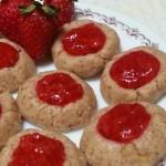 Raw Strawberry Jam Thumbprint Cookies